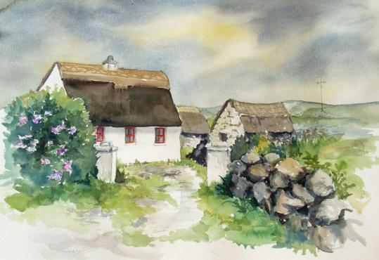 Serie Irland - Cottage in Clare, Arches 300g, ca 50 x 39 cm