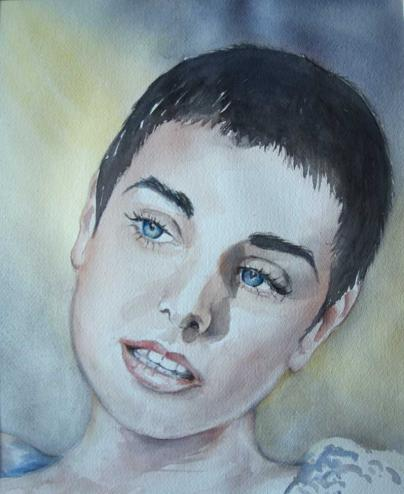 "Sinead, gemalt zu dem Video ""Peggy Gordon"" auf Youtube   https://www.youtube.com/watch?v=Gi6BuMhqTHE"